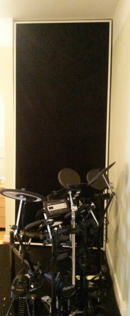 Bass trap in place behind drumkit