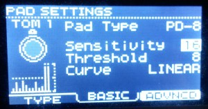 Roland TD-11 pad sensivity settings